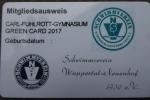 Greencard des Schwimmvereins Wuppertal-Neuenhof für das Carl-Fuhlrott-Gymnasium