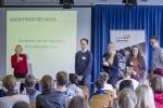 Stellvertretende Schulleiterin Cornelia Wissemann-Hartmann begrüßte die Organisatoren von Jugend Präsentiert.