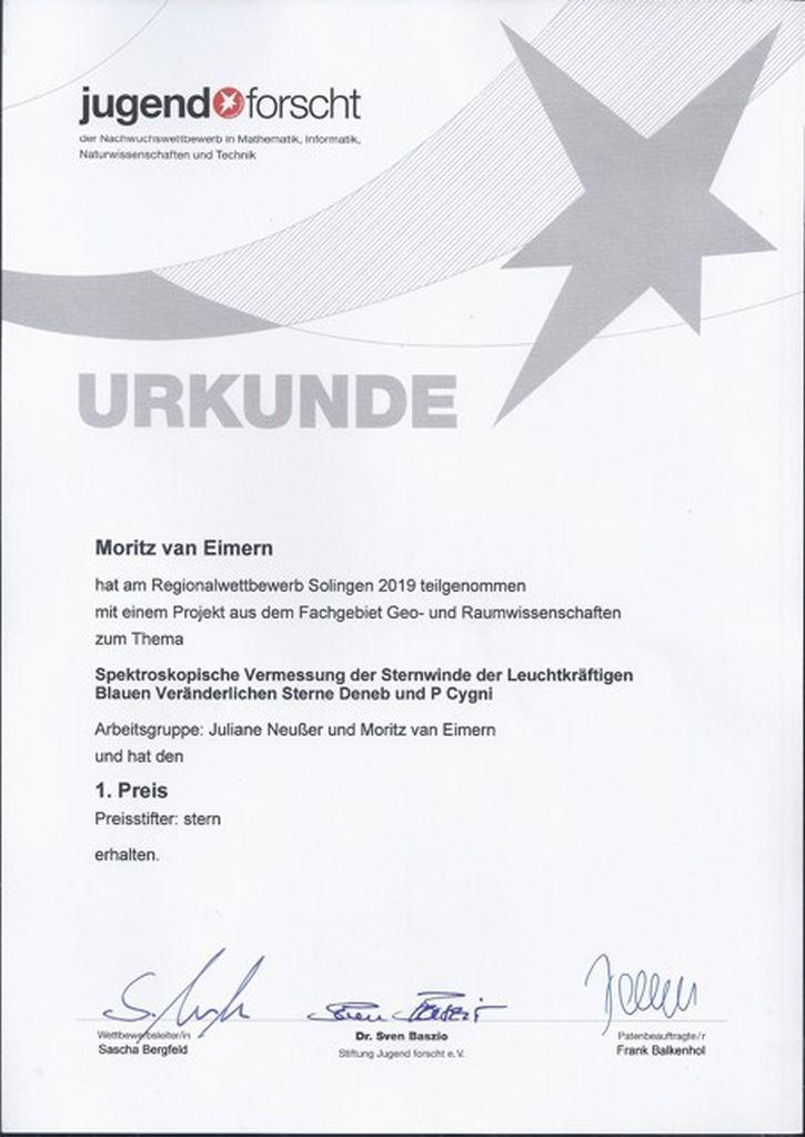 Urkunde Moritz van Eimern Platz 1