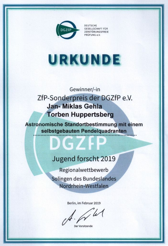 Urkunde ZfG-Sonderpreis Gehla-Huppertsberg